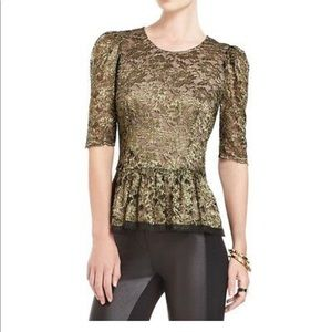 BCBG Max Azria gold lace peplum top raw edge trim